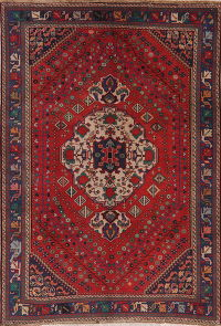 Vintage Red Bakhtiari Persian Wool Rug 7x10