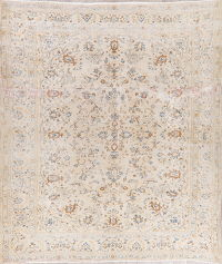 Floral Kashan Muted Distressed Persian Rug 7x10