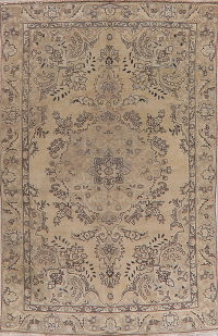 Golden Brown Tabriz Muted Distressed Persian Area Rug 6x9