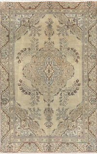 Vintage Tabriz Muted Distressed Persian Area Rug 6x9