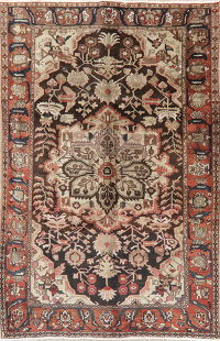 Vintage Dark Brown Bakhtiari Persian Area Wool Rug 7x10