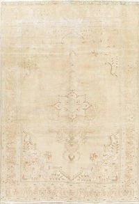 Floral Tabriz Muted Distressed Persian Area Rug 7x10
