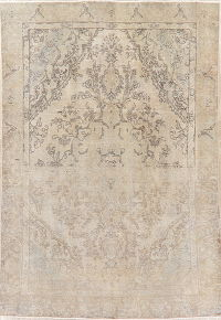 Antique Tabriz Muted Distressed Persian Area Rug 7x11