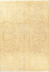 Floral Gold Tabriz Muted Distressed Persian Area Rug 8x11