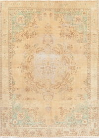 Floral Tabriz Muted Distressed Persian Area Rug 8x11