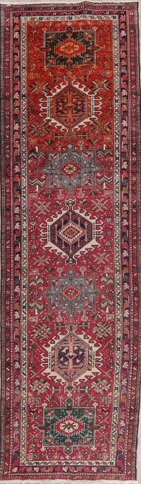 Tribal Geometric Gharajeh Persian Wool Runner Rug 3x11