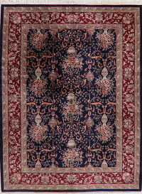 Wool Silk Navy Blue Floral Aubusson Oriental Area Rug 9x12