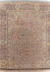 Antique Vegetable Dye Kerman Persian Wool Rug 16x27