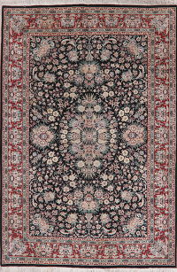 Black Wool Floral Aubusson Oriental Area Rug 6x9