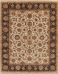 Traditional Ivory Floral Agra Oriental Area Rug 8x10