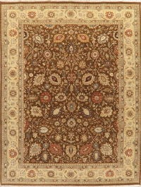 Brown All-Over Floral Agra Indian Wool Area Rug 9x12
