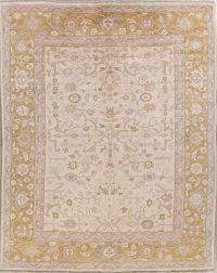 Ivory Floral Oushak Indo Oriental Wool Rug 9x11
