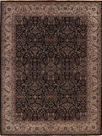 All-Over Black Floral Agra Oriental Wool Rug 9x12