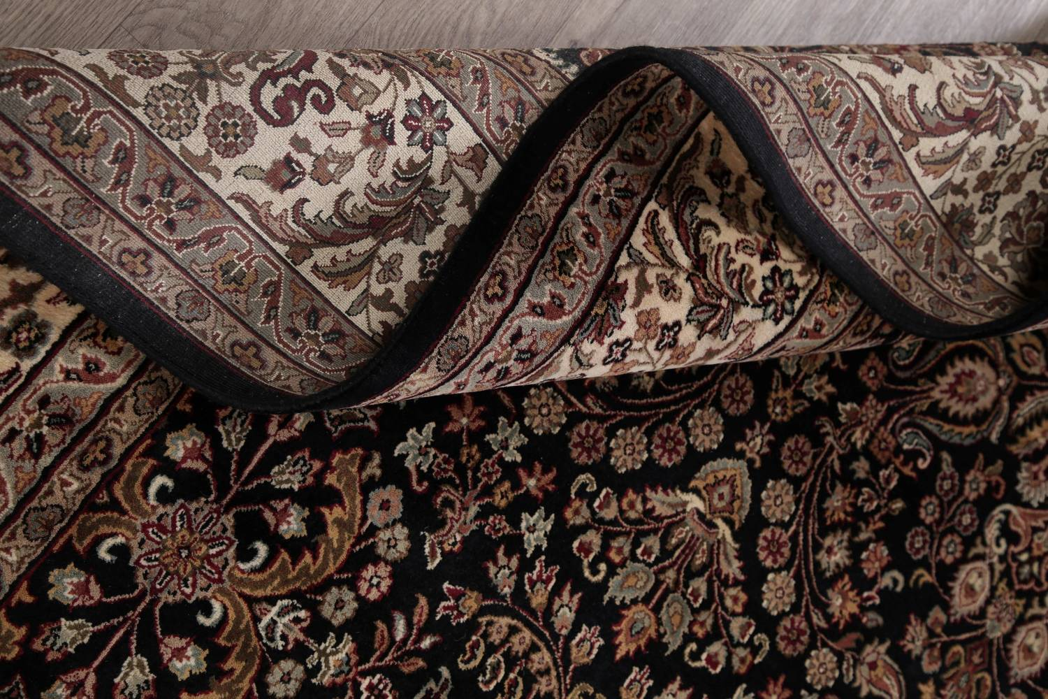 All-Over Black Floral Agra Oriental Wool Rug 9x12 image 17
