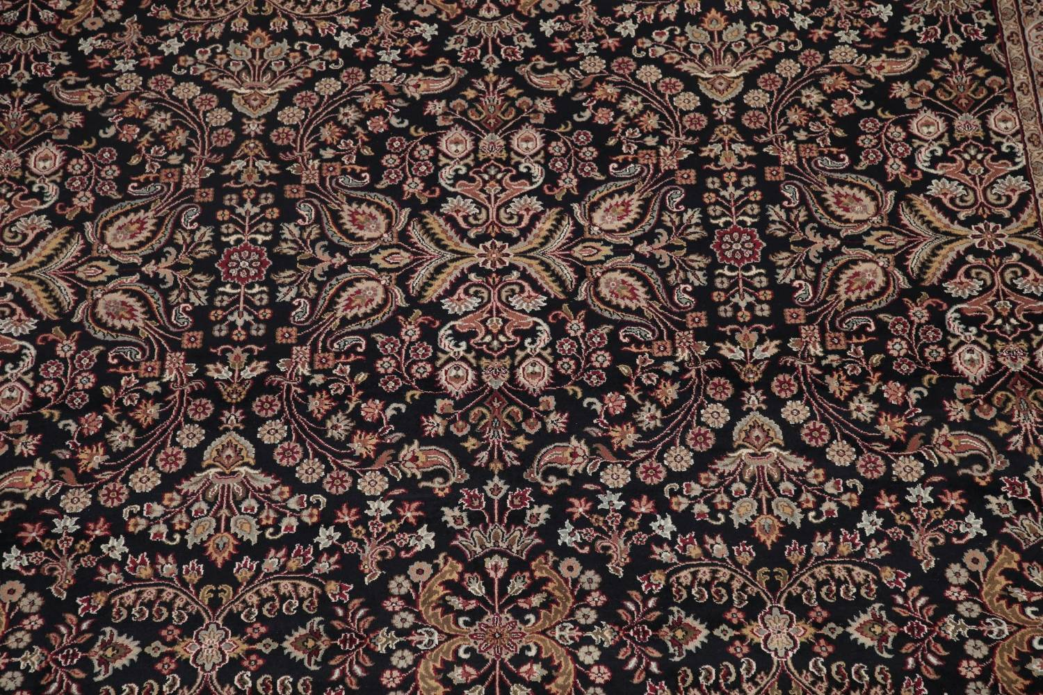 All-Over Black Floral Agra Oriental Wool Rug 9x12 image 4