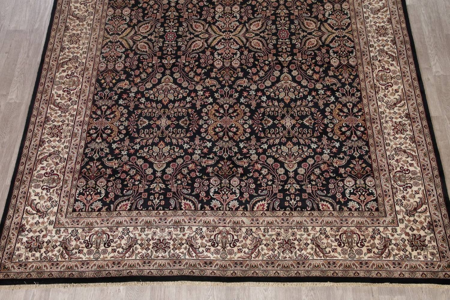 All-Over Black Floral Agra Oriental Wool Rug 9x12 image 8