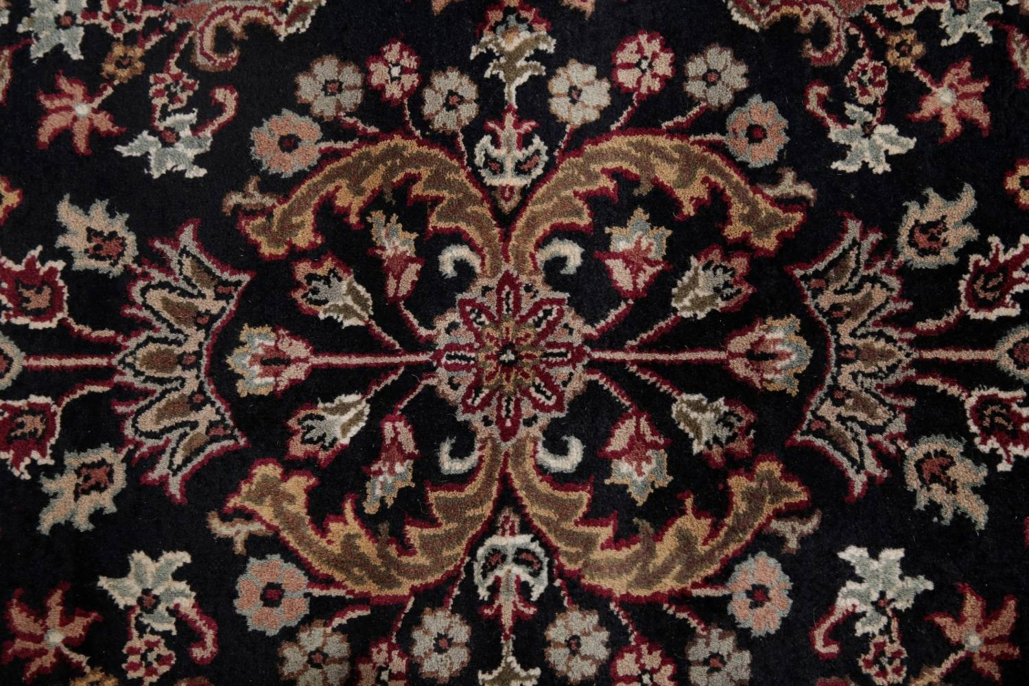 All-Over Black Floral Agra Oriental Wool Rug 9x12 image 10
