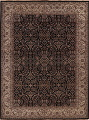 All-Over Black Floral Agra Oriental Wool Rug 9x12 image 1