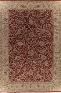 Floral Red Agra Indian Oriental Wool Rug 12x18