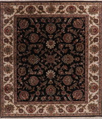 All-Over Black Floral Agra Oriental Wool Rug 8x10