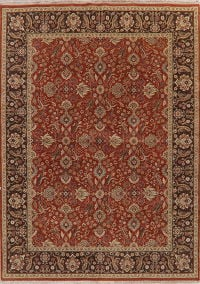 All-Over Red Floral Chobi Peshawar Oriental Wool Rug 9x12