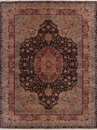 Floral Black Oushak Turkish Oriental Wool Rug 9x11