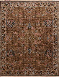 Victorian Style Brown Aubusson Indo Oriental Area Rug 8x10