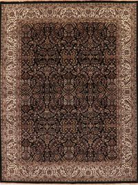 All-Over Floral Black Agra Indian Oriental Area Rug 9x12