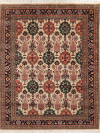 Floral Ivory Art & Craft Indo Oriental Area Rug 8x10