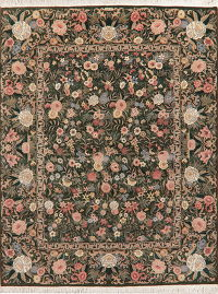 Transitional Floral Green Aubusson Oriental Area Rug 8x10