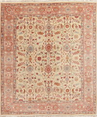 All-Over Beige Oushak Indo Oriental Wool Area Rug 8x10