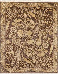 Transitional Floral Art & Craft Brown Oriental Area Rug 8x10
