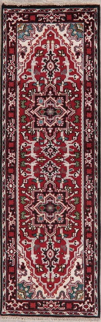 Red Heriz Indian Oriental Wool Runner Rugs 3x8