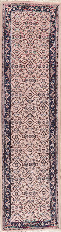 Pink Geometric Bidjar Indian Oriental Wool Rug