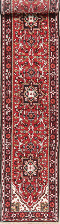 Floral Red Heriz Indian Oriental Wool Runner Rugs