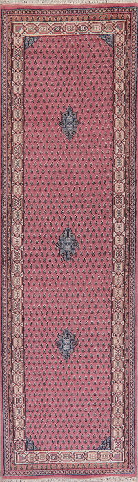 Pink Geometric Bidjar Indian Oriental Wool Rugs