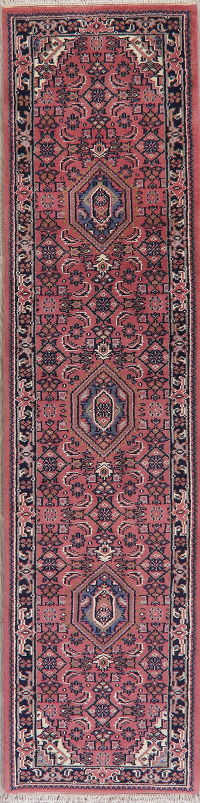 Geometric Pink Bidjar Indian Oriental Wool Runner Rugs