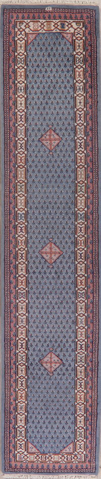 Blue Geometric Botemir Indian Oriental Wool Rugs
