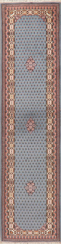 Blue Geometric Botemir Indian Oriental Wool Rug