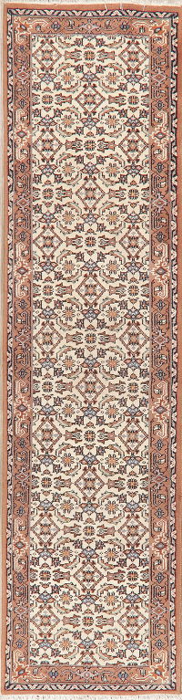 Geometric Ivory Bidjar Indian Oriental Wool Rugs