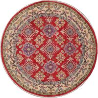Red Super Kazak-Chechen Oriental Rug 5x5 Round