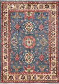 Blue Geometric Super Kazak Pakistan Wool Rug 5x7
