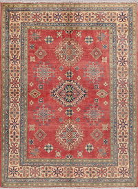 Red Geometric Super Kazak Pakistan Wool Rug 5x7