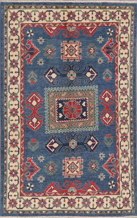 Blue Geometric Super Kazak Pakistan Wool Rug 4x6