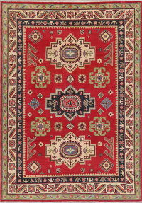 Red Geometric Super Kazak Pakistan Wool Rug 6x8