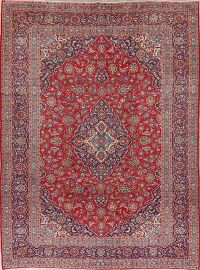 Traditional Red Kashan Persian Wool Area Rug 9x13