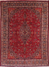 Vintage Floral Red Mashad Persian Wool Area Rug 9x13