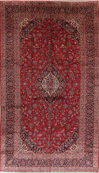 Traditional Floral Kashan Persian Wool Rug 10x17