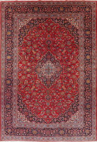 Traditional Red Floral Kashan Persian Area Rug 9x14