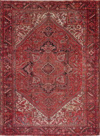 Antique Red Geometric Heriz Persian Area Rug 10x13